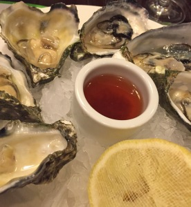 Freshly shucked oysters with shallot and red wine vinegar
